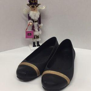Crocs Women's Size 9 Black Sparkle Gold Band